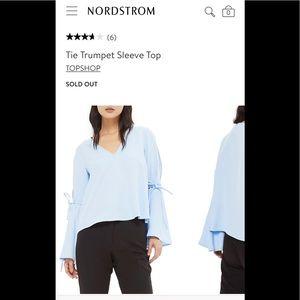 Topshop Bell Sleeve Blue Top